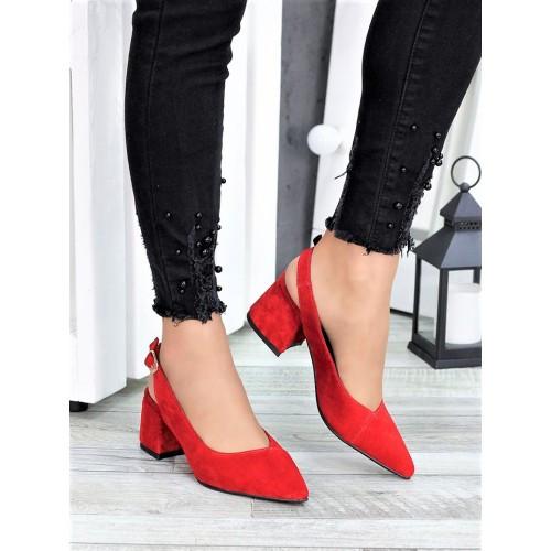 Туфли красная натуральная замша
