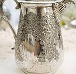 Старый посеребренный молочник, кувшинчик, серебрение, мельхиор, Англия, Walker & Hall  Sheffield, фото 2