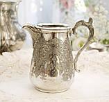 Старый посеребренный молочник, кувшинчик, серебрение, мельхиор, Англия, Walker & Hall  Sheffield, фото 4
