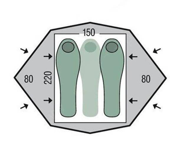 Намет 3-місний Pinguin Gemini 150 Extreme Green, фото 2