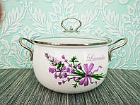 Глубокая кухонная эмалированная кастрюля с крышкой 2 л, А-плюс| Каструля белая с цветочным декором| Каструля |