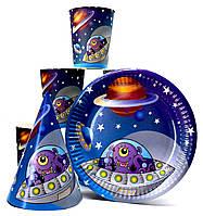 """Набор """"Космос"""". Тарелки (18см) -10шт. Стаканчики (250мл) -10шт. Колпачки (16см) -10шт."""