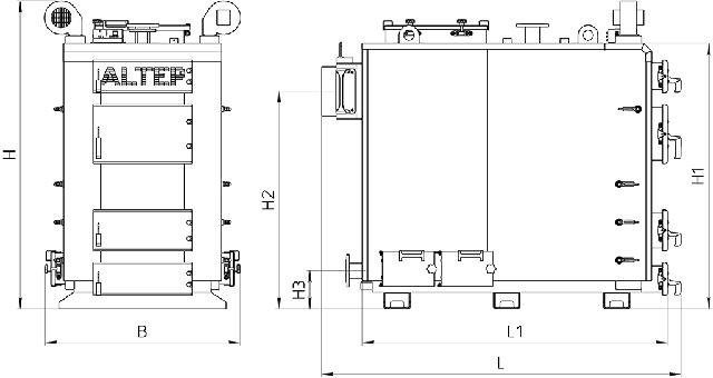 Габаритные размеры котел АЛЬТЕП TRIO 250 кВт Фото-1