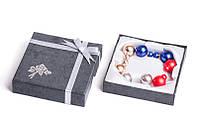 Набор серьги шары Dior цвет серебряный, золотой, красный, синий жатый эффект/набор