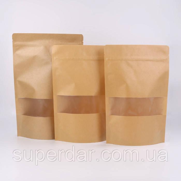 Пакет Дой-Пак крафт РЕ, окно 53 мм, 130*200 мм*дно 32+32 мм (150 г) СД18-02
