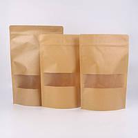 Пакет Дой-Пак крафт РЕ, окно 53 мм, 130*200 мм*дно 32+32 мм (150 г) СД18-02, фото 1