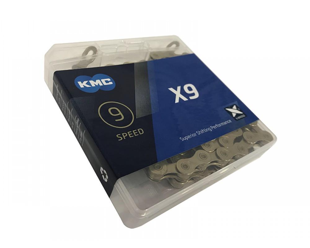 """Цепь велосипедная KMC X9 1/2""""х 3/32""""х114 зв.Gold/Gold"""