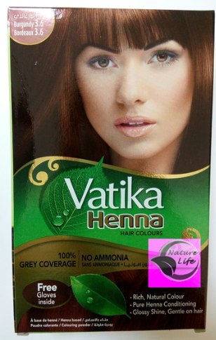 Индийская краска для волос Vatika Henna Бургунд бордовая с хной №3.6