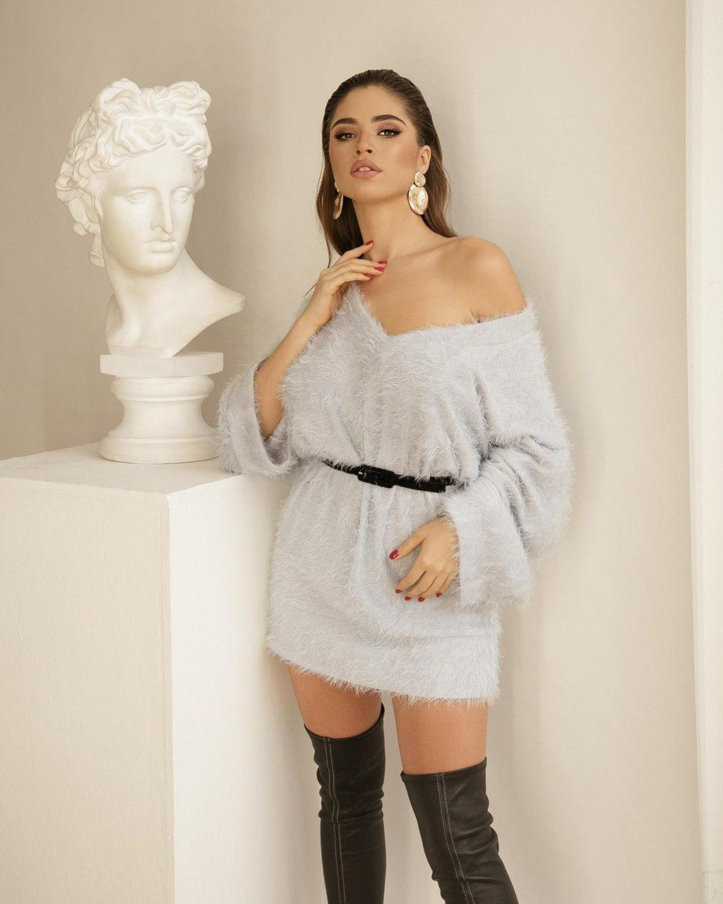 Платье-свитер женское AniTi 069, светло-серый