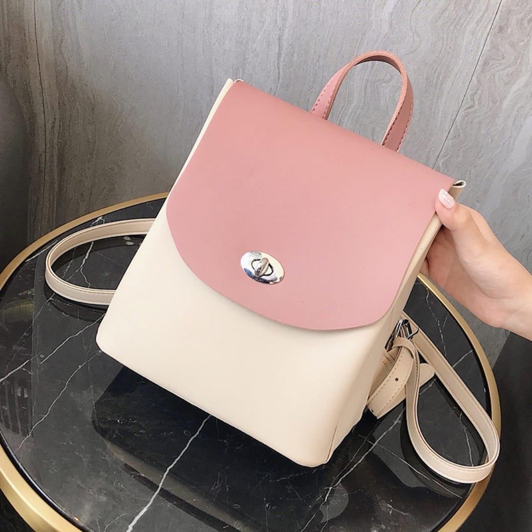 Женский рюкзак, экокожа PU (розовый)