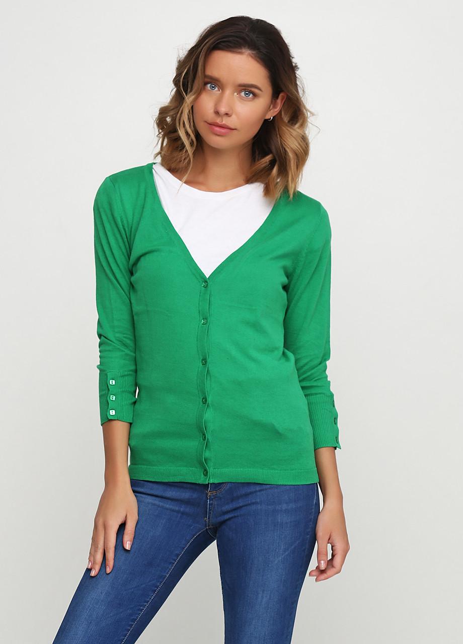 Женская кофта Miss Moda  однотонная зелёная,XS