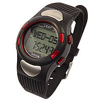 Електронний спортивний чоловічий годинник з пульсометром і календарем Leap PC2008 червоний