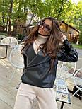 Жіноча куртка шкіряна оверсайз зі спущеним рукавом 7101327, фото 10