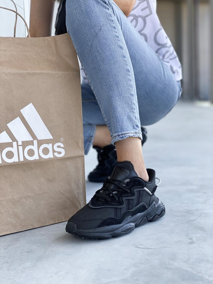 Женские кроссовки Adidas Ozweego черные. Модные кроссовки женские Адидас Озвиго.