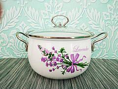Глубокая кухонная эмалированная кастрюля с крышкой 3 л, А-плюс| Каструля белая с цветочным декором| Каструля |