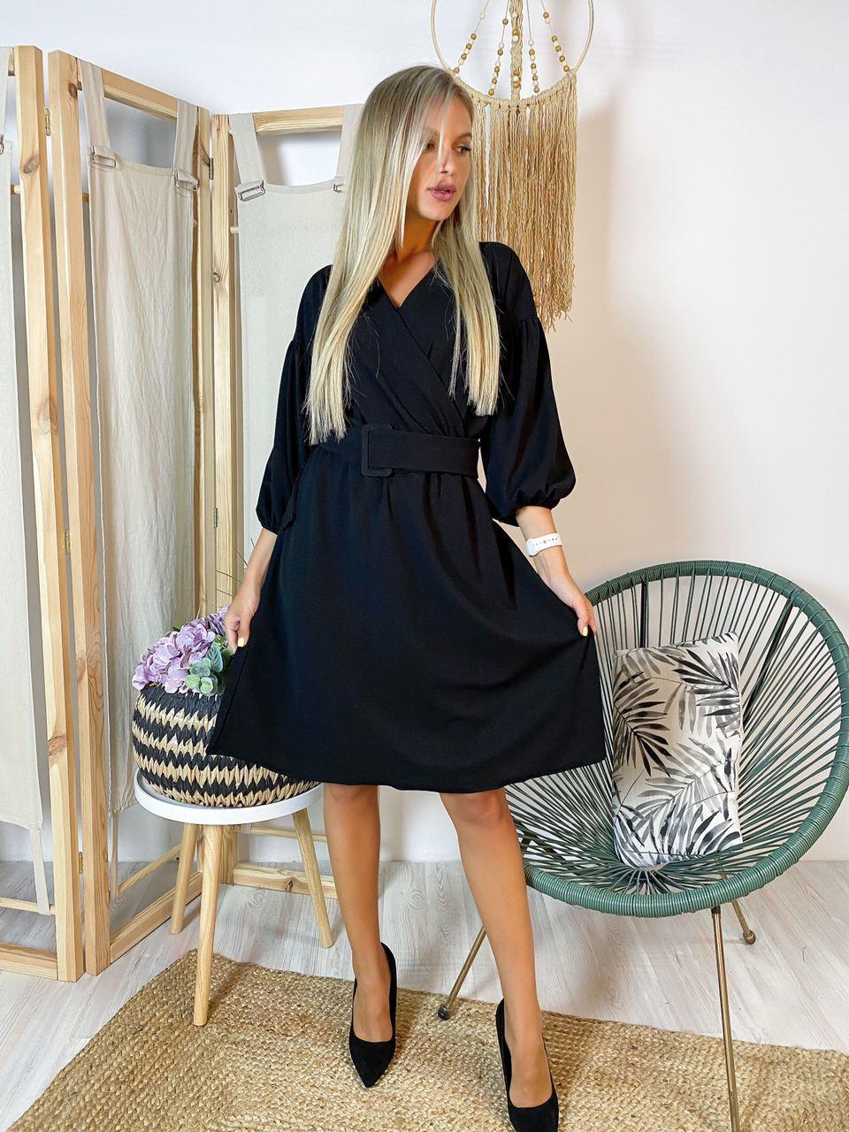 Платье миди черное стильное с поясом в комплекте Ткань креп-дайвинг
