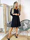 Платье миди черное стильное с поясом в комплекте Ткань креп-дайвинг, фото 3