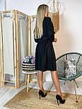 Платье миди черное стильное с поясом в комплекте Ткань креп-дайвинг, фото 2