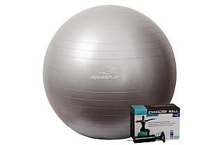 Мяч для фитнеса и гимнастики PowerPlay 4001 75см серебристый + насос