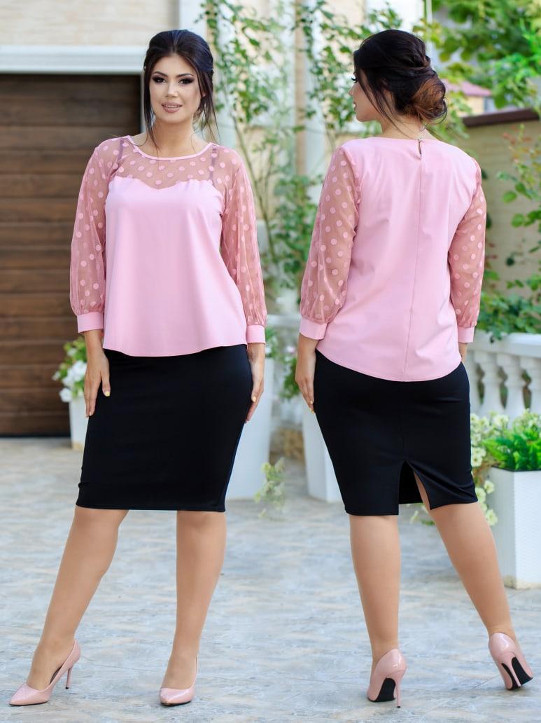 Женский костюм юбка карандаш и блуза свободного кроя со вставкой сетки  горох 48-50, 52-54
