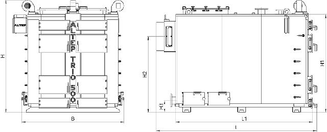 Габаритные размеры котел АЛЬТЕП TRIO 500 кВт Фото-1