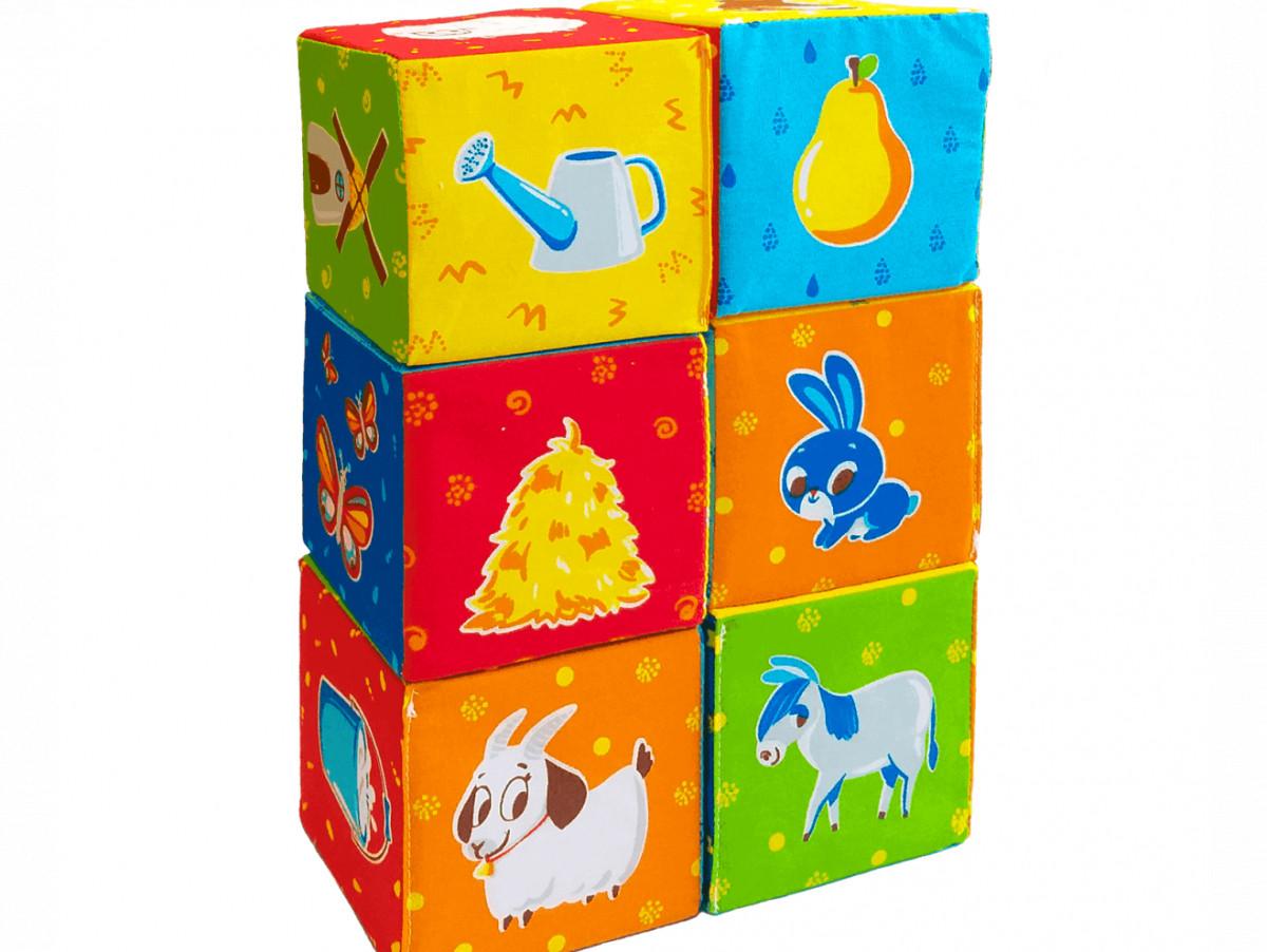 Развивающие мягкие кубики для детей Животные на ферме, Macik (МС 090601-05)