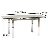 Серый стеклянный раскладной стол Signal GD-017 110-170x74см для кухни на прямоугольных ножках Польша