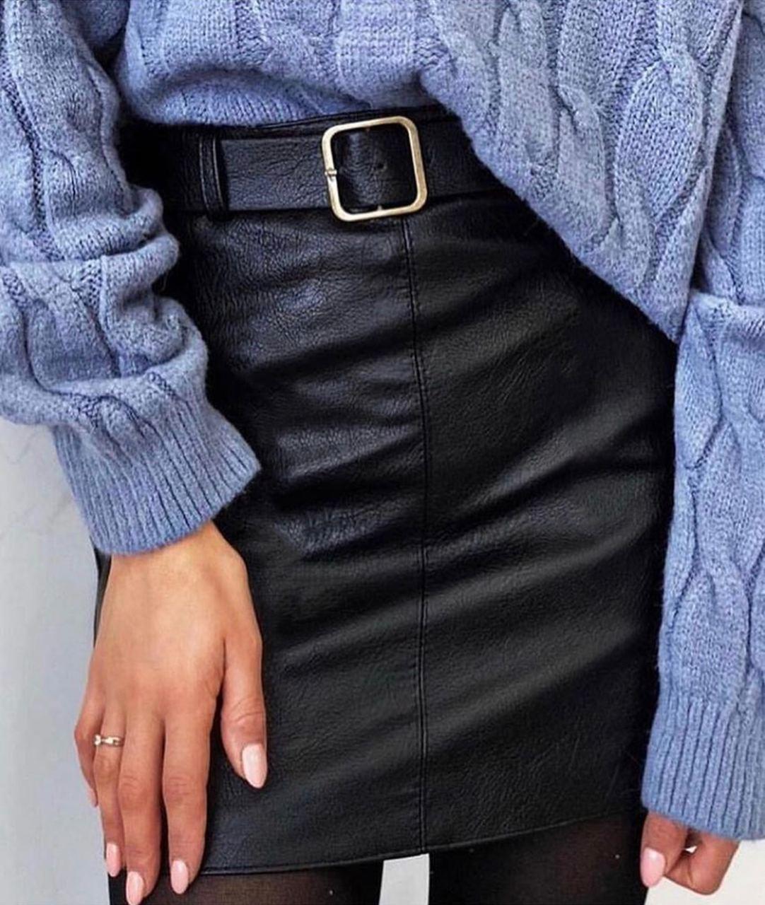 Женская юбка трапеция из экокожи