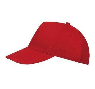 Кепка однотонная хлопок красная 101-40