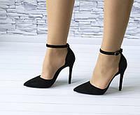 Туфли на шпильке черные лодочки с ремешком и застежкой эко замша b-365