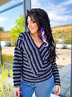 Мягкий женский свитер в полоску, фото 1