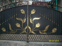 """Ворота с калиткой дворовые. Ручная ковка. Элитная покраска краской """"Hammerite""""."""