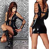 Зажигательное мини-платье в шнуровке черного цвета, фото 6