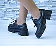 Туфли мартинсы черные стильные женские эко кожа на шнурках, фото 7