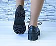 Туфли мартинсы черные стильные женские эко кожа на шнурках, фото 10