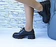 Туфли мартинсы черные стильные женские эко кожа на шнурках, фото 4