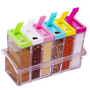 Кухонная спецовница  подставка с шестью емкостями для специй