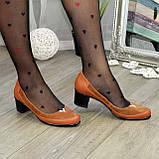 Женские комбинированные туфли на невысоком каблуке, цвет рыжий, фото 2