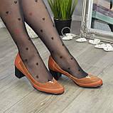 Женские комбинированные туфли на невысоком каблуке, цвет рыжий, фото 3
