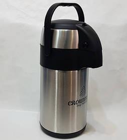 Термос из нержавеющей стали вакуумный с помпой Crownberg CB-3L 3 л Black/Steel
