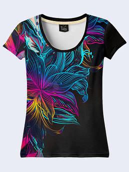 Женская футболка с принтом Неоновые цветы