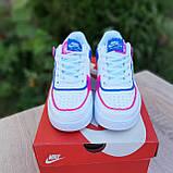 🔥 Кроссовки женские повседневные Nike Air Force 1 Shadow Белые с малиной и синим (найк аир форс), фото 9