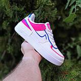 🔥 Кроссовки женские повседневные Nike Air Force 1 Shadow Белые с малиной и синим (найк аир форс), фото 7