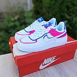 🔥 Кроссовки женские повседневные Nike Air Force 1 Shadow Белые с малиной и синим (найк аир форс), фото 3