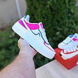 🔥 Кроссовки женские повседневные Nike Air Force 1 Shadow Белые с малиной и синим (найк аир форс), фото 4