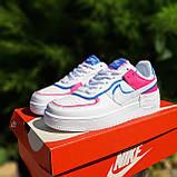 🔥 Кроссовки женские повседневные Nike Air Force 1 Shadow Белые с малиной и синим (найк аир форс), фото 6