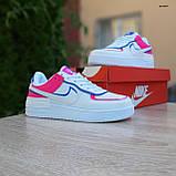 🔥 Кроссовки женские повседневные Nike Air Force 1 Shadow Белые с малиной и синим (найк аир форс), фото 8