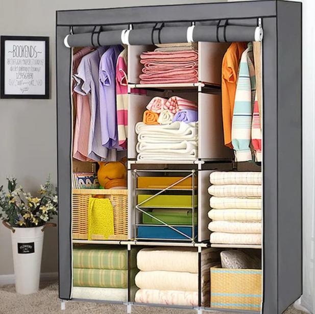 Складаний каркасний тканинний шафа Storage Wardrobe 88130, шафа на три секції 130*45*175