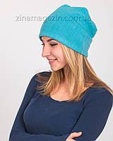 Зимняя шапка чулок голубая