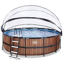 Бассейн с куполом EXIT дерево 450х122 см (песочный фильтр)